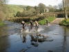 Windy, Rob Clay, Lucy & Penny Allan crossing Badgeworthy Water at Malmsmead ford, Exmoor