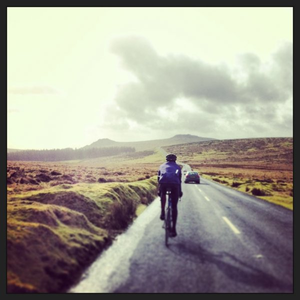 Rob Barnes  riding home from Princetown